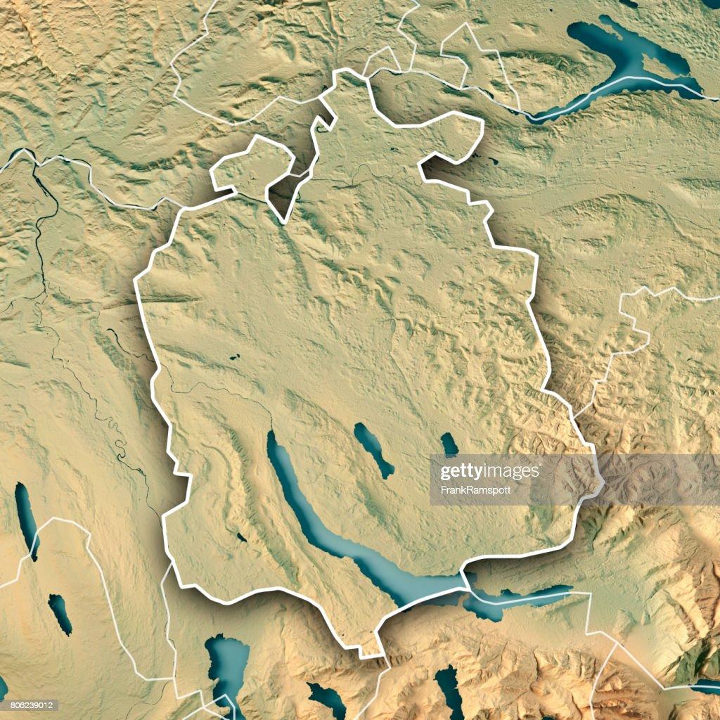 Zurich Canton Switzerland 3d Render Topographic Map Border Stock