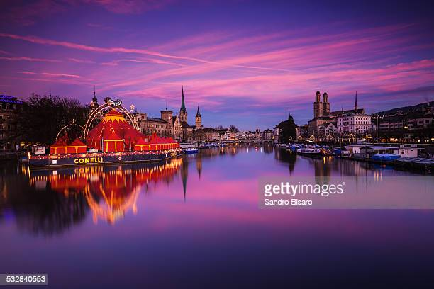 zürich classic skyline at sunrise - kona coast stock photos and pictures