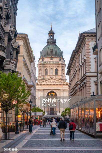 zrinyi utca street and st. stephen`s basilica in budapest, hungary - saint eloi stock pictures, royalty-free photos & images