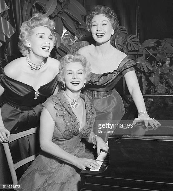 Zsa Zsa Eva and Magda Gabor glamorous trio of sisters doing a night club stint at Ciro's appear at an interview during which they claimed they were...