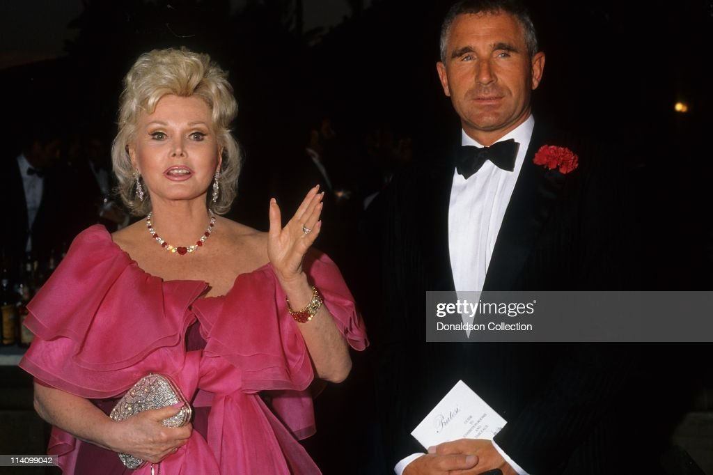 Zsa Zsa Gabor and Frederic Prinz Von Anhalt at Bel Age Hotel Event in February 1988 in Los Angeles, California.
