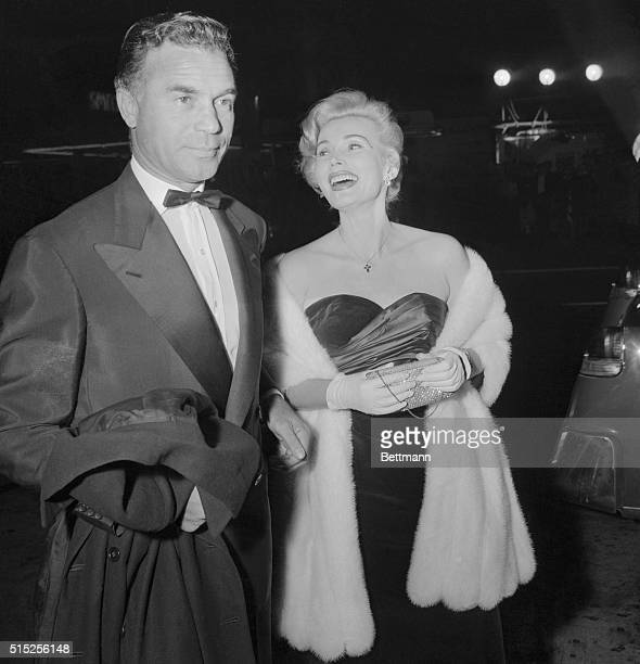 Zsa Zsa Gabor with husband Porfirio Rubirosa in evening dress