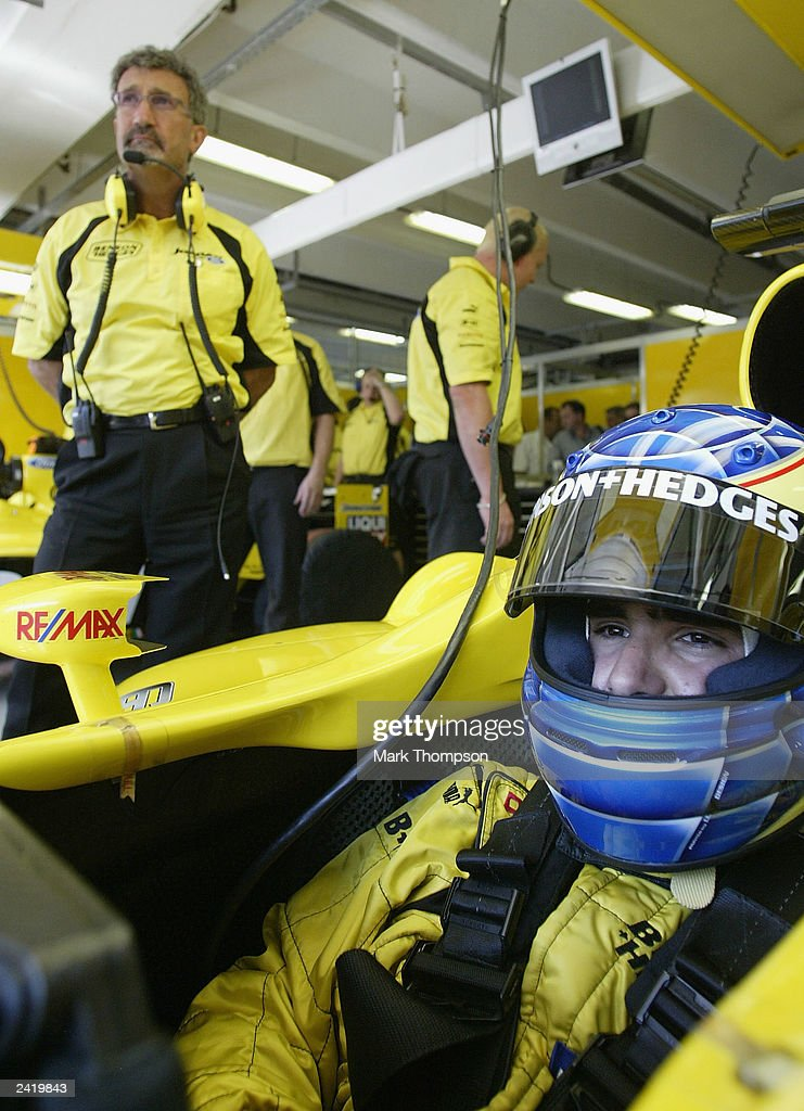 Zsolt Baumgartner of Hungary prepares to qualify the Jordan in place of Ralph Firman who crashed heavily during second practice for the Formula One Hungarian Grand Prix at the Hungaroring on August 23, 2003 in Budapest, Hungary.