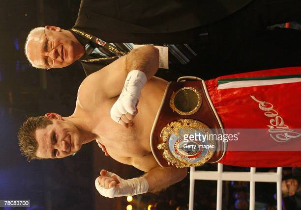Zsolt Erdei and the Promoter Klaus - Peter Kohl after the WBA World Championship Half Heavyweight fight between Zsolt Erdei and Tito Mendoza at the...