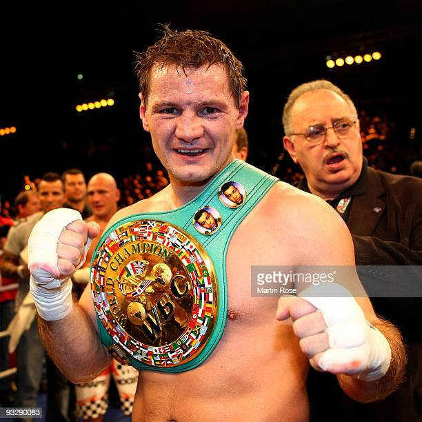 Zsolt Erdei of Hungary celebrates after winning the WBC cruiserweight world championship fight against Giacobbe Fragomeni of Italy during the...