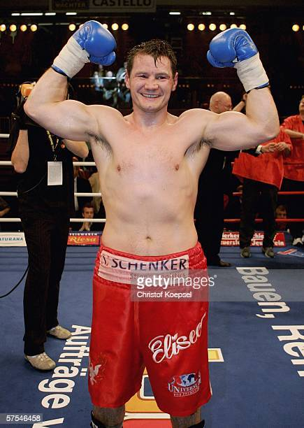 Zsolt Erdei of Hungary celebrates defeating Paul Murdoch of Australia after their WBO Light Heavyweight world championship fight at the Burg-Waechter...