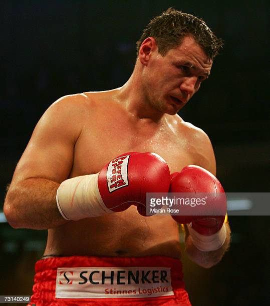 Zsolt Erdei of Hungary in action during the WBO Light Heavyweight World Championship fight between Zsolt Erdei of Hungary and Danny Santiago of the...