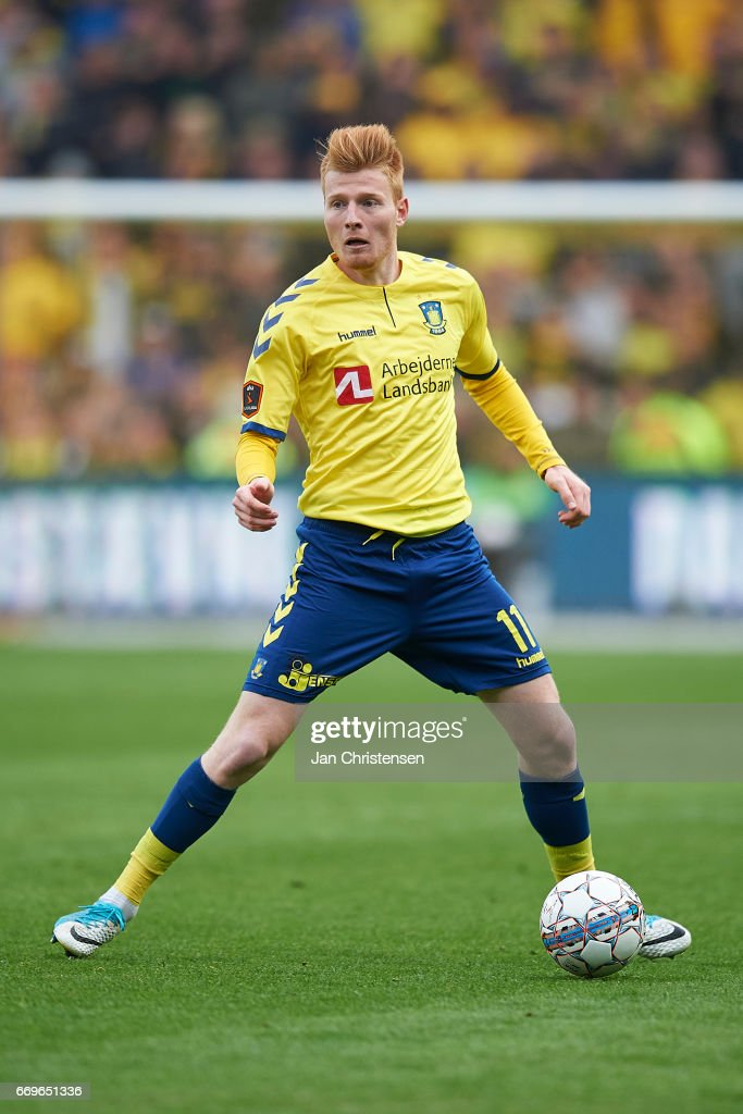 Zsolt Kalmár of Brondby IF controls the ball during the Danish Alka Superliga match between Brondby IF and FC Midtjylland at Brondby Stadion on April 17, 2017 in Brondby, Denmark.
