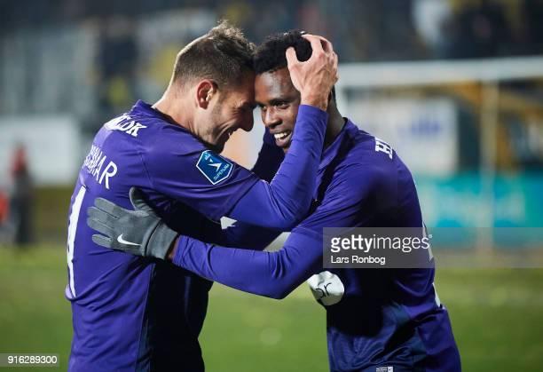 Zsolt Korcsmar of FC Midtjylland and Frank Onyeka of FC Midtjylland celebrate after scoring their second goal during the Danish Alka Superliga match...