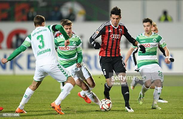Zsolt Korcsmar of Fuerth Stefan Thesker of Fuerth Alfredo Morales of Ingolstadt and Zhi Gin Lam of Fuerth compete for the ball during the Second...