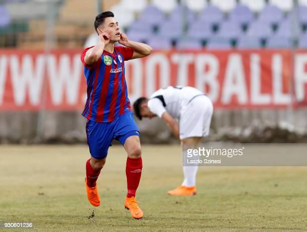 Zsombor Berecz of Vasas FC celebrates his goal during the Hungarian OTP Bank Liga match between Vasas FC and Budapest Honved at Ferenc Szusza Stadium...