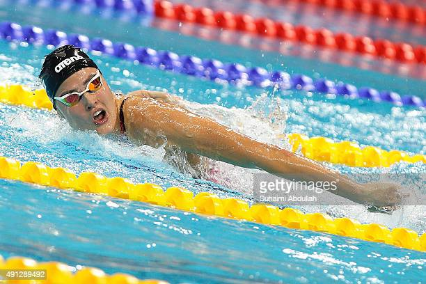 Zsuzsanna Jakabos of Hungary competes in the Women's 200m Butterfly Final during the FINA World Cup at the OCBC Aquatic Centre on October 4 2015 in...