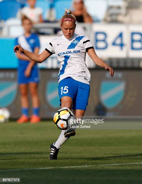 Zsuzsanna Szabo of MTK Hungaria FC controls the ball during the UEFA Women's Champions League Qualifying match between MTK Hungaria FC and WFC...