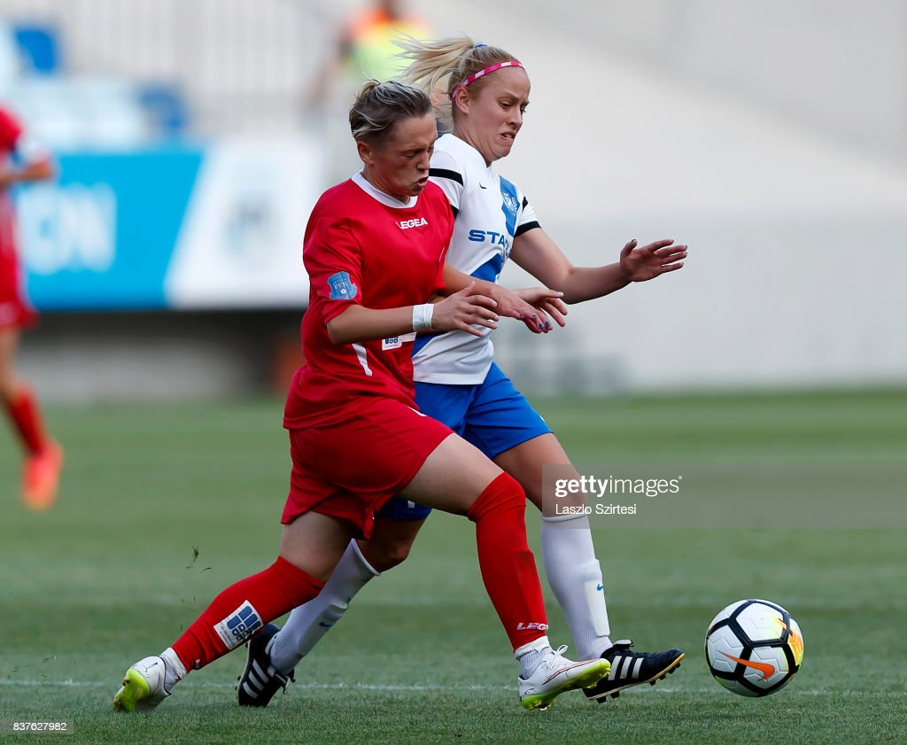Zsuzsanna Szabo (R) of MTK Hungaria FC fights for the ball with Donjeta Haxha (L) of WFC Hajvalia during the UEFA Women's Champions League Qualifying match between MTK Hungaria FC and WFC Hajvalia at Nandor Hidegkuti Stadium on August 22, 2017 in Budapest, Hungary.