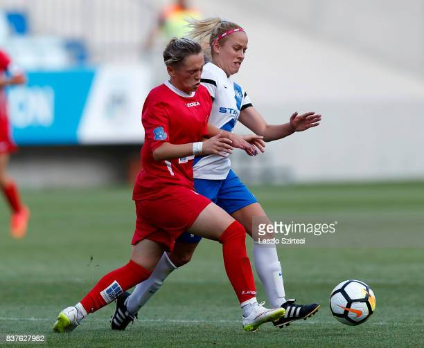 Zsuzsanna Szabo of MTK Hungaria FC fights for the ball with Donjeta Haxha of WFC Hajvalia during the UEFA Women's Champions League Qualifying match...