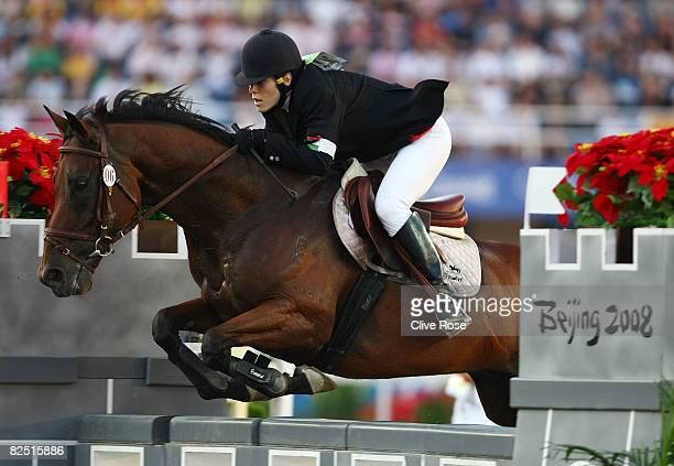 Zsuzsanna Voros of Hungary rides LiLi in the Modern Pentathlon Women's Riding Show Jumping at the Olympic Sports Center Stadium on Day 14 of the...