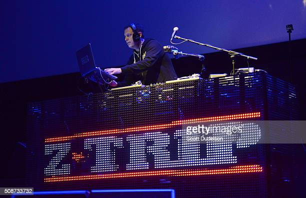 "Trip performs onstage during the ""Feel the Bern"" fundraiser for Presidential candidate Bernie Sanders at the Ace Theater Downtown LA on February 5,..."