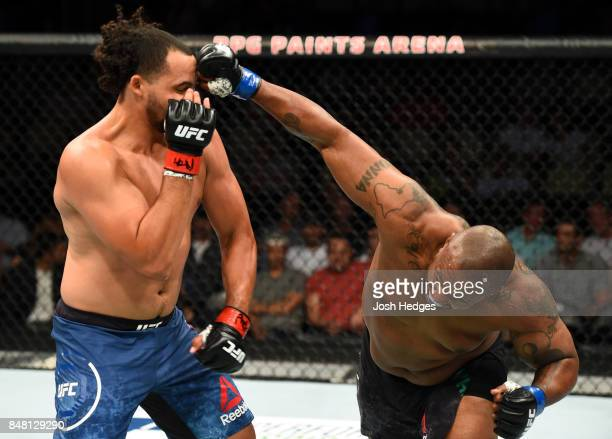 Zu Anyanwu punches Justin Ledet in their heavyweight bout during the UFC Fight Night event inside the PPG Paints Arena on September 16 2017 in...