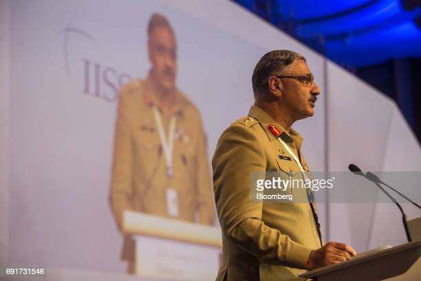 Zubair Mahmood Hayat chairman of the Pakistan's Joint Chiefs of Staff speaks during the IISS ShangriLa Dialogue Asia Security Summit in Singapore on...