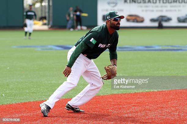 Zubair Nawaz of Team Pakistan fields ground balls during the workout for the 2016 World Baseball Classic Qualifier at MCU Park on Tuesday September...