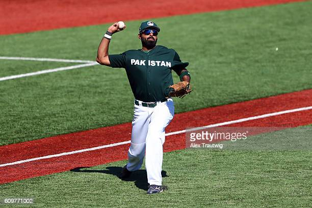 Zubair Nawaz of Team Pakistan throws to first base during Game 1 of the 2016 World Baseball Classic Qualifier at MCU Park on Thursday September 22...