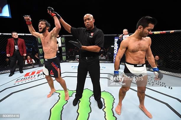 Zubaira Tukhugov celebrates his win over Phillipe Nover in their featherweight bout during the UFC Fight Night event at The Chelsea at the...