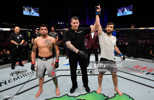 Zubaira Tukhugov of Russia celebrates after defeating Kevin Aguilar in their featherweight bout during the UFC Fight Night event at Spark Arena on...