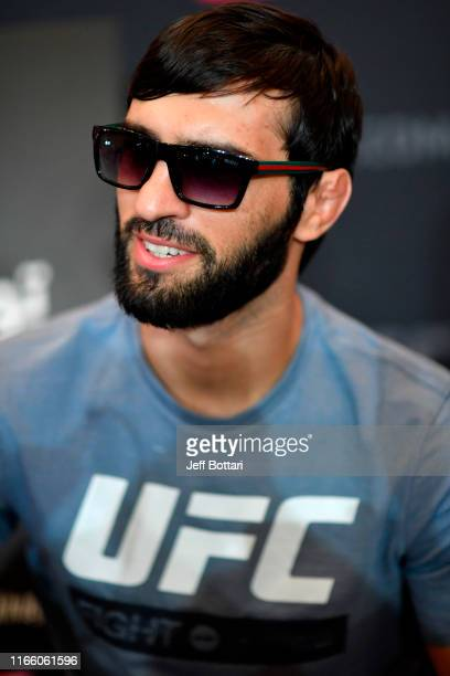 Zubaira Tukhugov of Russia interacts with media during the UFC 242 Ultimate Media Day at the Yas Hotel on September 5 2019 in Abu Dhabi United Arab...