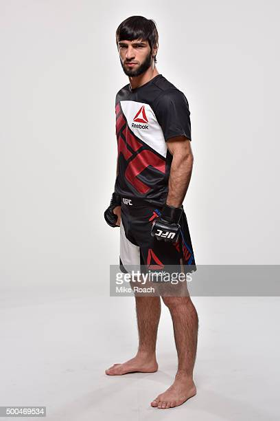Zubaira Tukhugov of Russia poses for a portrait during a UFC portrait session at MGM Grand Garden Arena on December 7 2015 in Las Vegas Nevada