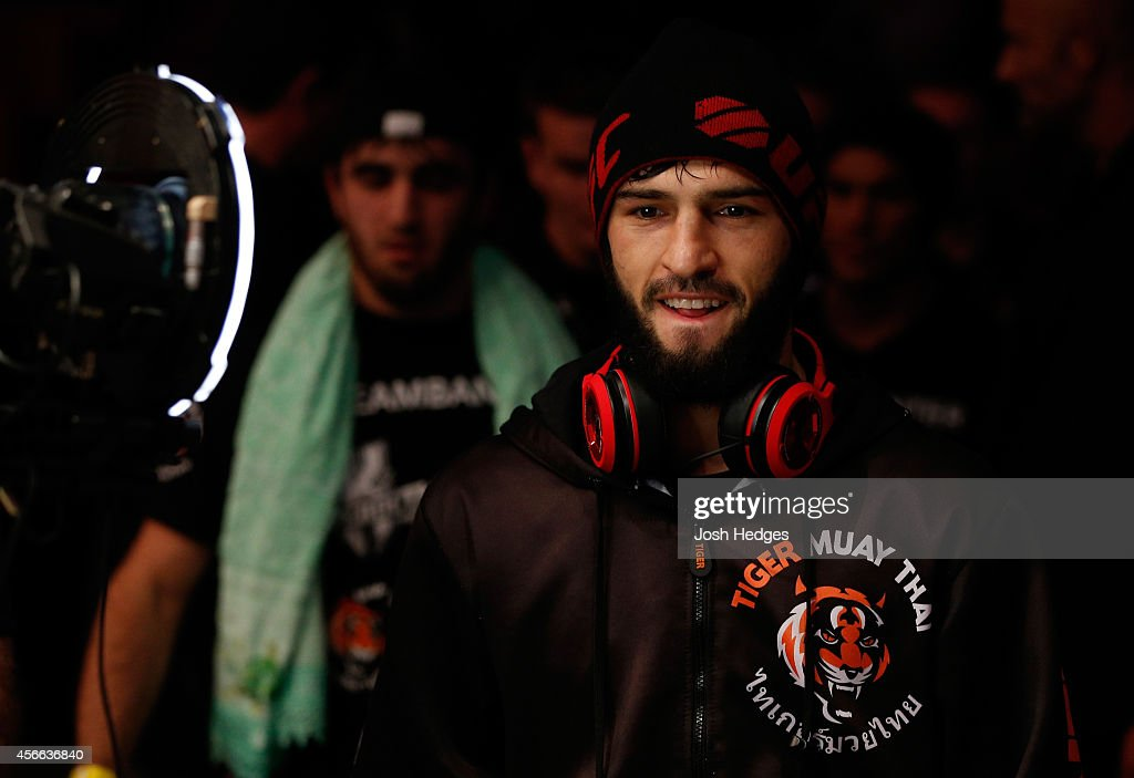 Zubaira Tukhugov of Russia prepares to enter the Octagon before his featherweight bout against Ernest Chavez at the Ericsson Globe Arena on October 4, 2014 in Stockholm, Sweden.