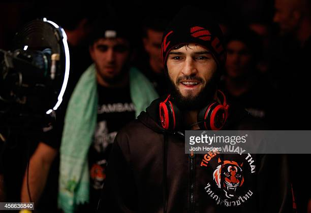 Zubaira Tukhugov of Russia prepares to enter the Octagon before his featherweight bout against Ernest Chavez at the Ericsson Globe Arena on October 4...