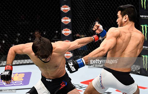 Zubaira Tukhugov punches Phillipe Nover in their featherweight bout during the UFC Fight Night event at The Chelsea at the Cosmopolitan of Las Vegas...