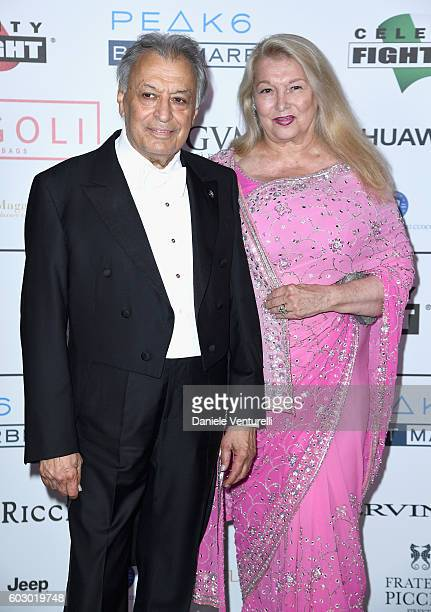 Zubin Mehta and Nancy Kovack attend the Celebrity Fight Night gala at Palazzo Vecchio as part of Celebrity Fight Night Italy benefiting The Andrea...