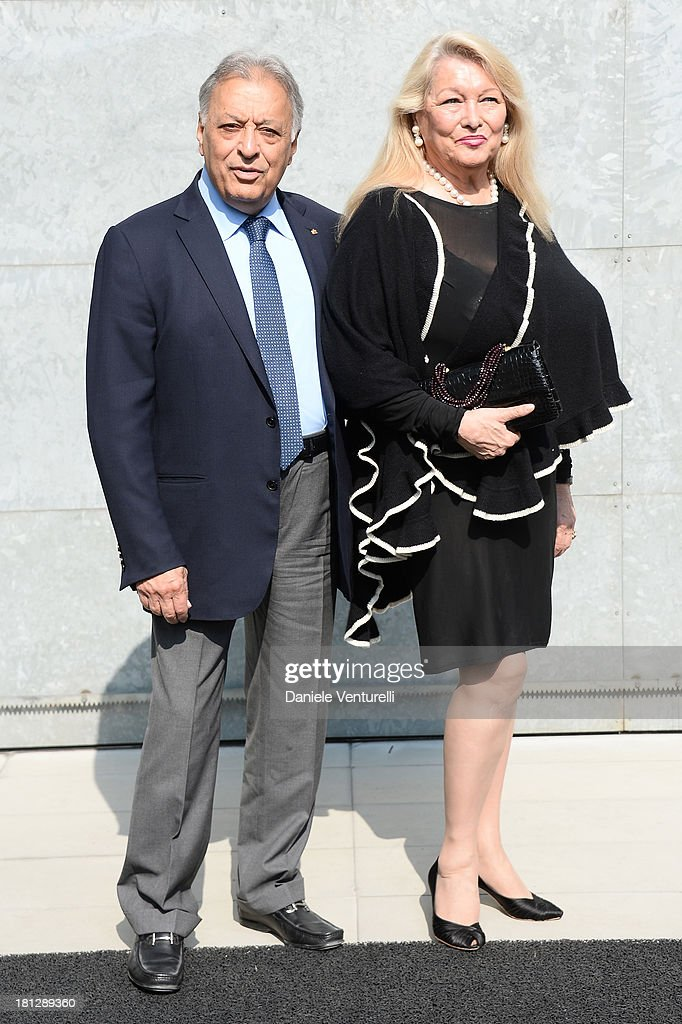 Zubin Mehta and Nancy Mehta attend the Emporio Armani show as a part of Milan Fashion Week Womenswear Spring/Summer 2014 on September 20, 2013 in Milan, Italy.