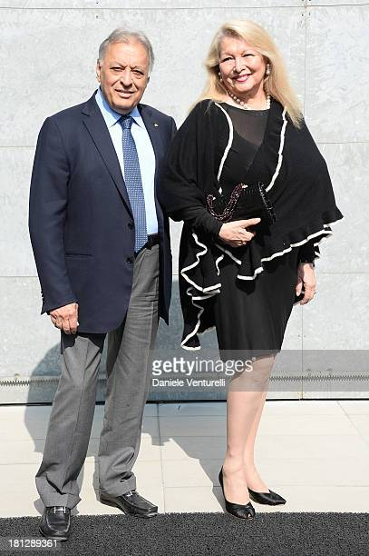 Zubin Mehta and Nancy Mehta attend the Emporio Armani show as a part of Milan Fashion Week Womenswear Spring/Summer 2014 on September 20 2013 in...
