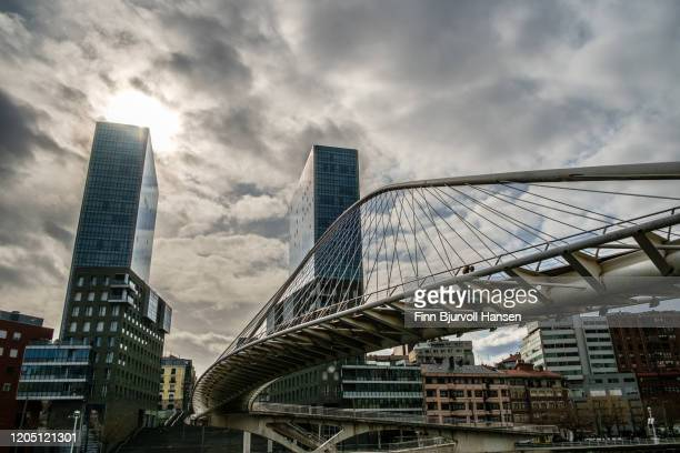 zubizuri bridge and isozaki towers at sunset - finn bjurvoll stock pictures, royalty-free photos & images