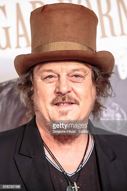 """Zucchero """"Sugar"""" Fornaciari attends a photocall in Milan to present the new album """"Black Cat"""" on April 28 2016 in Milan Italy The album is released..."""