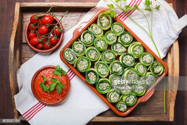 Zucchini Cannellonis with Romesco and Cherry Tomatoes
