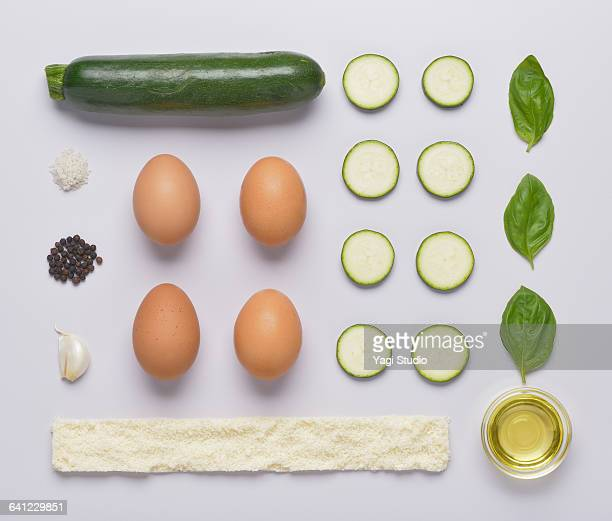 zucchini frittata knolling style - zucchini stock pictures, royalty-free photos & images