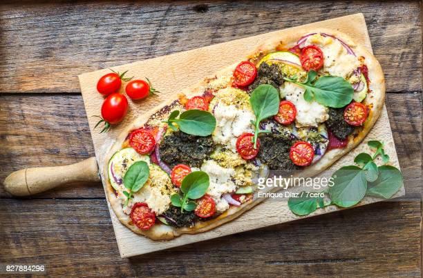 Zucchini, Pesto, Ricotta and Cherry Tomato Pizza
