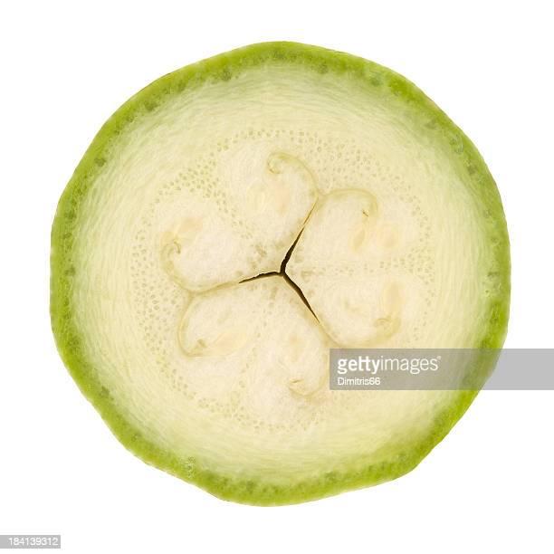 Zucchini portion on white