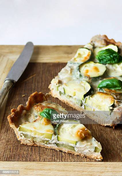 zucchini quiche - marrow squash stock pictures, royalty-free photos & images