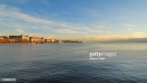 zuerich - view over the lake of zuerichsee - switzerland, europe. - seeufer stock-fotos und bilder