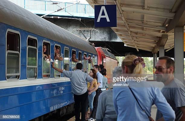Zugabfahrt am Bahnhof BerlinLichtenberg