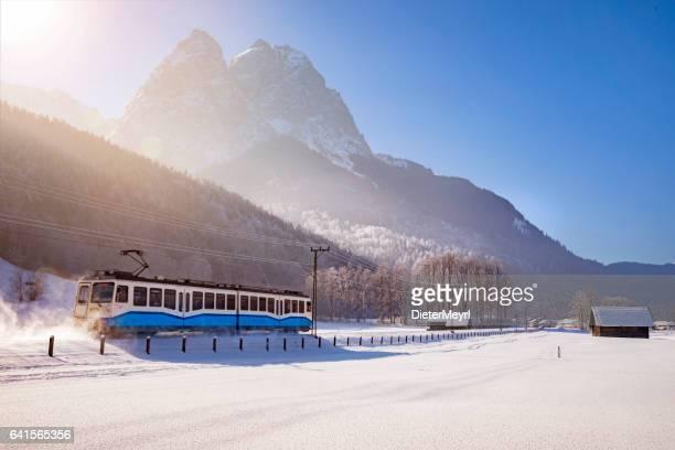 zugspitzbahn mountain railway train in bavaria, germany, europe - garmisch partenkirchen stock pictures, royalty-free photos & images