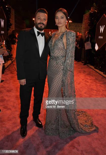 Zuhair Murad and Shanina Shaik attend the Fashion Trust Arabia Prize awards ceremony on March 28 2019 in Doha Qatar