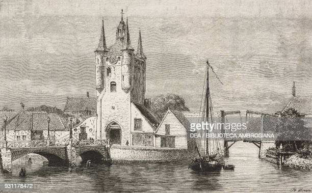 Zuidhavenpoort to the old city harbour in Zierikzee Netherlands drawing by Philippe Benoist from a photograph from The Zeeland by Charles De Coster...