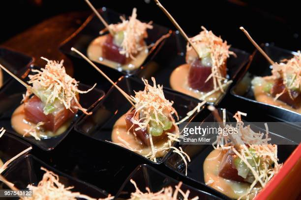 Zuke tuna wasabi salad is served at the Nobu booth during the 12th annual Vegas Uncork'd by Bon Appetit Grand Tasting event presented by the Las...
