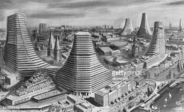 Zeichnung von August Eigner für die Neue Heimat die 1966 das Alsterzentrum mit 200 Meter hohen Wohntürmen aus Beton plante Undatiertes Foto