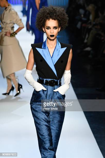 Zuleica Eliana walks the runway during the JeanPaul Gaultier Spring Summer 2018 show as part of Paris Fashion Week on January 24 2018 in Paris France
